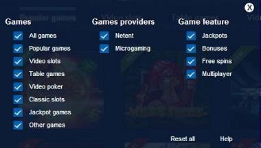 EuroSlots Games Filter