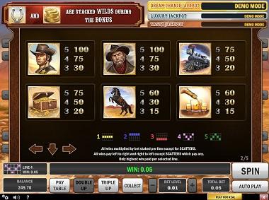 Cowboy Treasure Slot Paytable