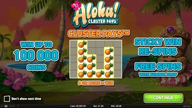 Aloha Cluster Pays Slot NetEnt 3